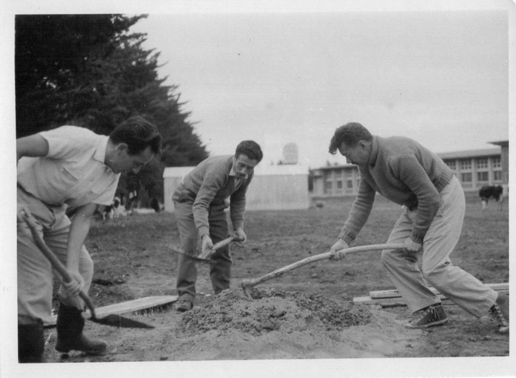 Becarios del Instituto Normal Rural Rey, Duarte y Álvarez, construyendo bloques