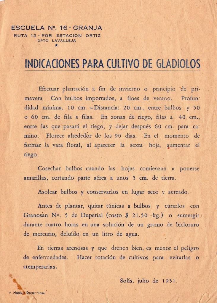 Cartilla que se distribuía entre las escuelas rurales junto con bulbos de gladiolo desde la Escuela Granja Nº 16