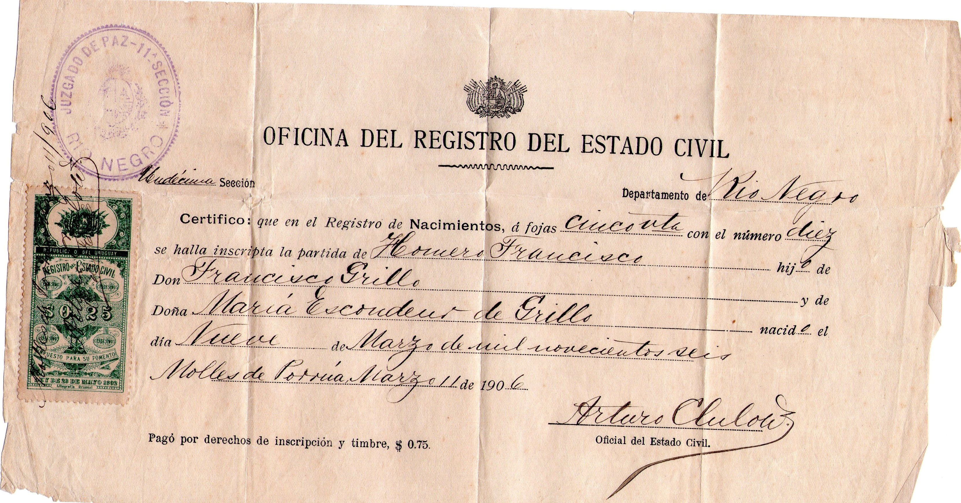 Partida de nacimiento de Homero Grillo | Educación Rural